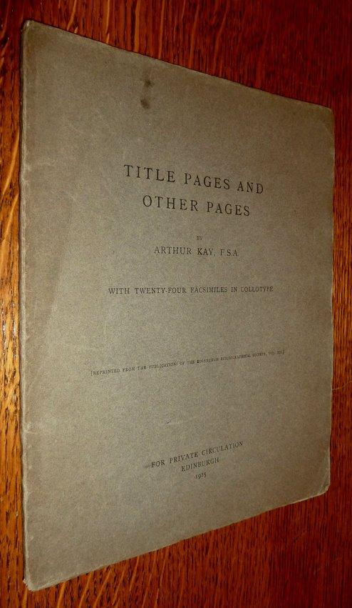 Title Pages and Other Pages