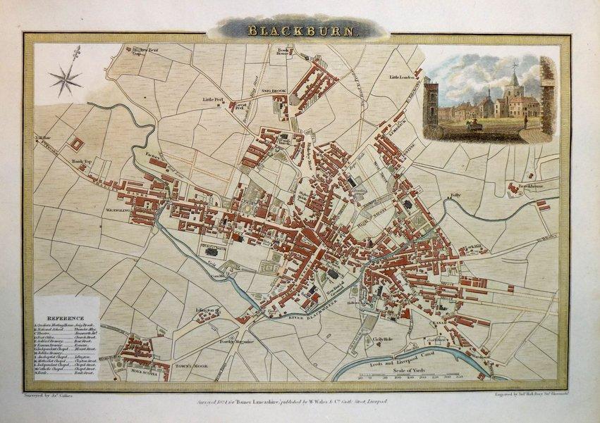 Blackburn Town Plans Antique Maps Vintage Maps
