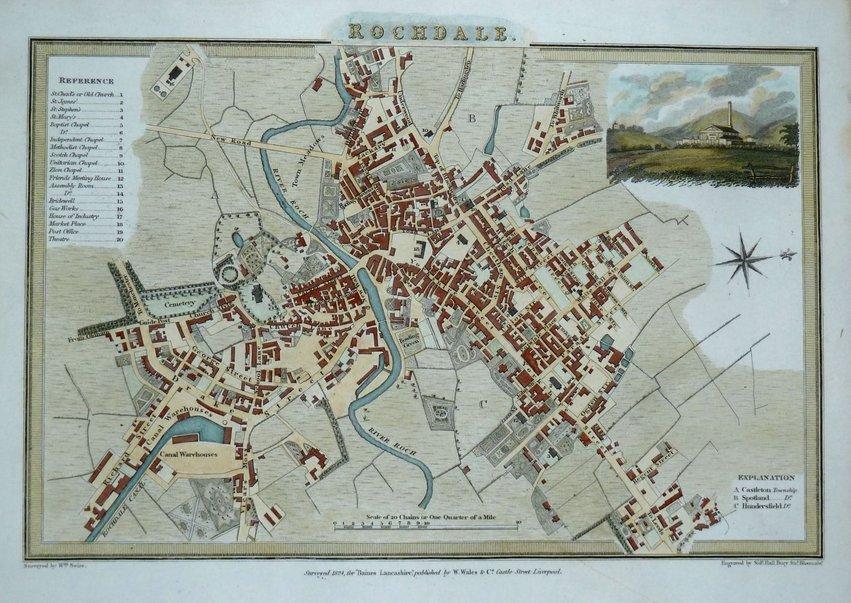 Rochdale Town Plans Antique Maps Vintage Maps