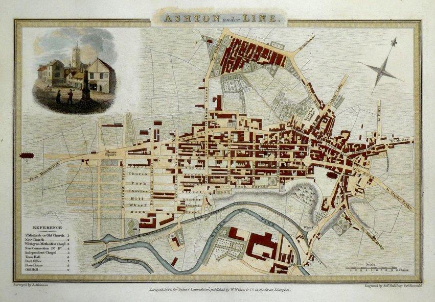 Ashton Under Lyne Town Plans Antique Maps