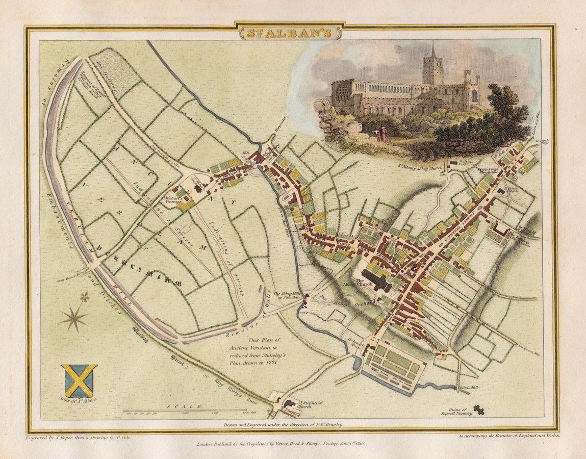 St Albans Town Plans Antique Maps Vintage