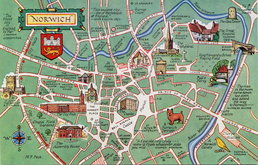 Norwich Map Postcard