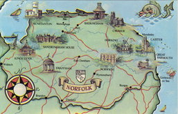 Norfolk Map Postcard