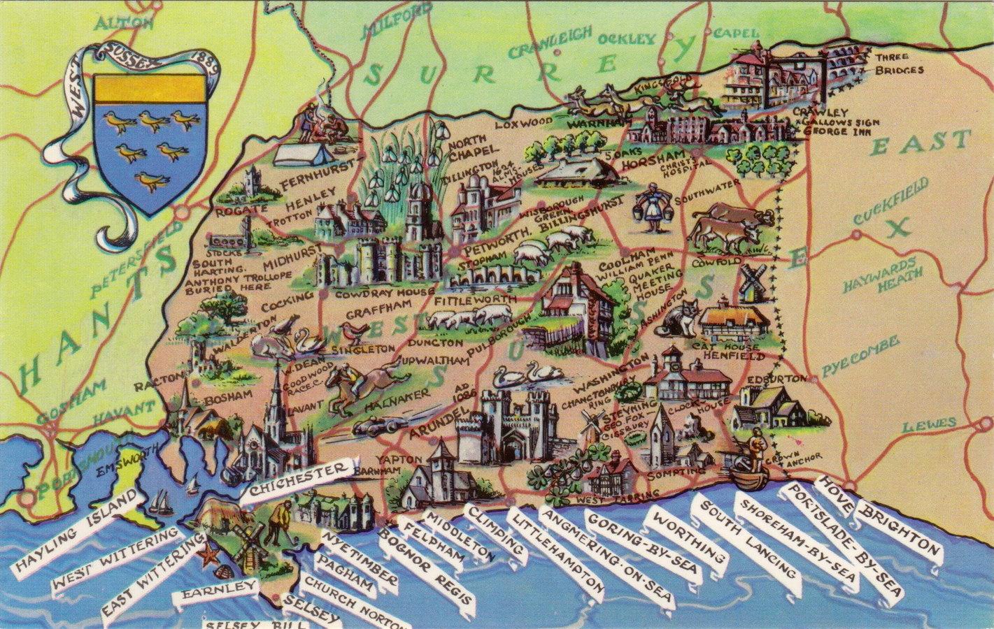 Sussex Map Postcard