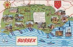 Sussex Map Postcard
