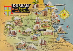 Durham Map Postcard