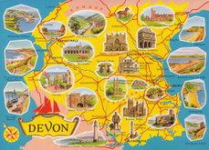 Devon Map Postcard