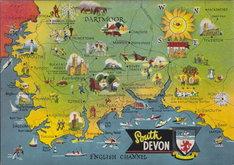 South Devon Map Postcard