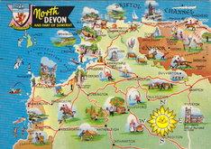 North Devon Map Postcard