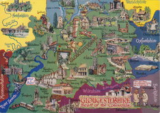 Gloucestershire Map Postcard