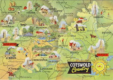 Cotswold Map Postcard