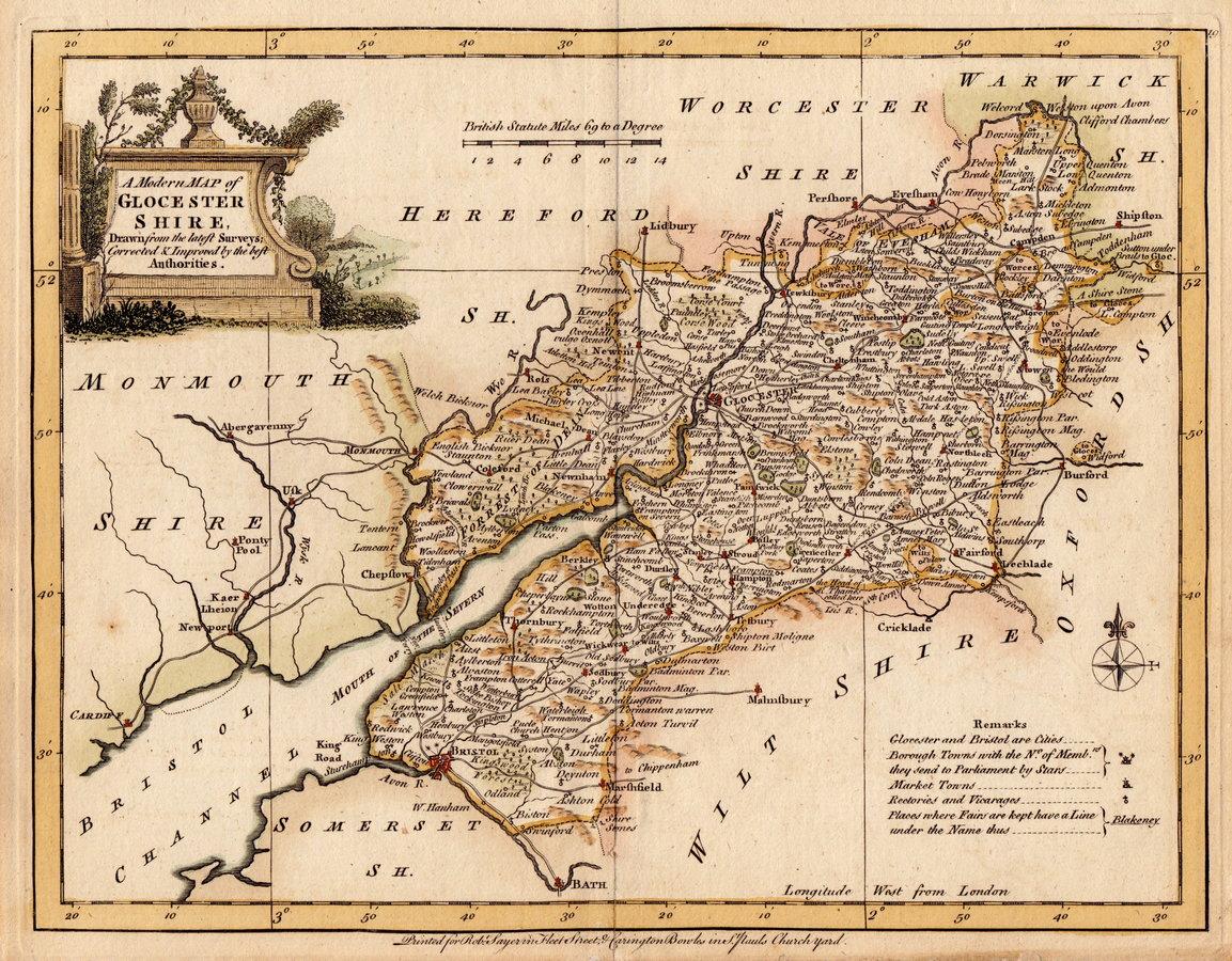 Gloucestershire antique maps old maps of gloucestershire vintage 80 joseph ellis 1773 ref 600921 freerunsca Image collections