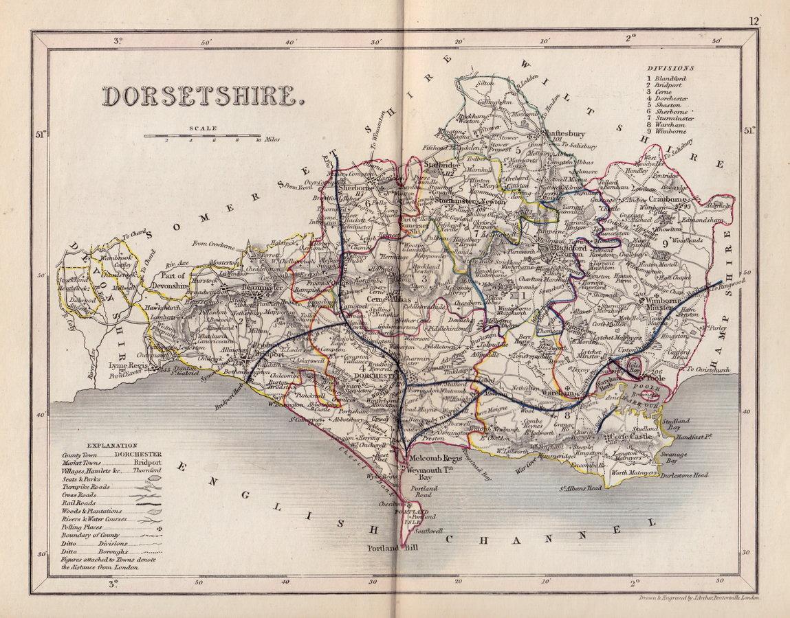 Dorset antique maps old maps of dorset vintage maps of dorset uk joshua archer publicscrutiny Image collections