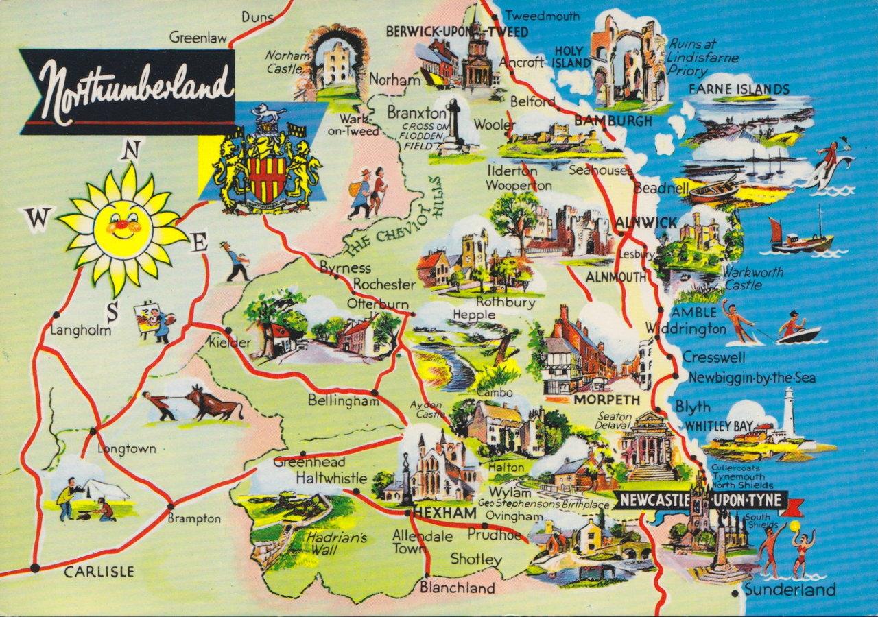 Northumberland Map Postcard