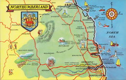 Northumberland Map Postcard