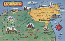 North East Kent Map Postcard
