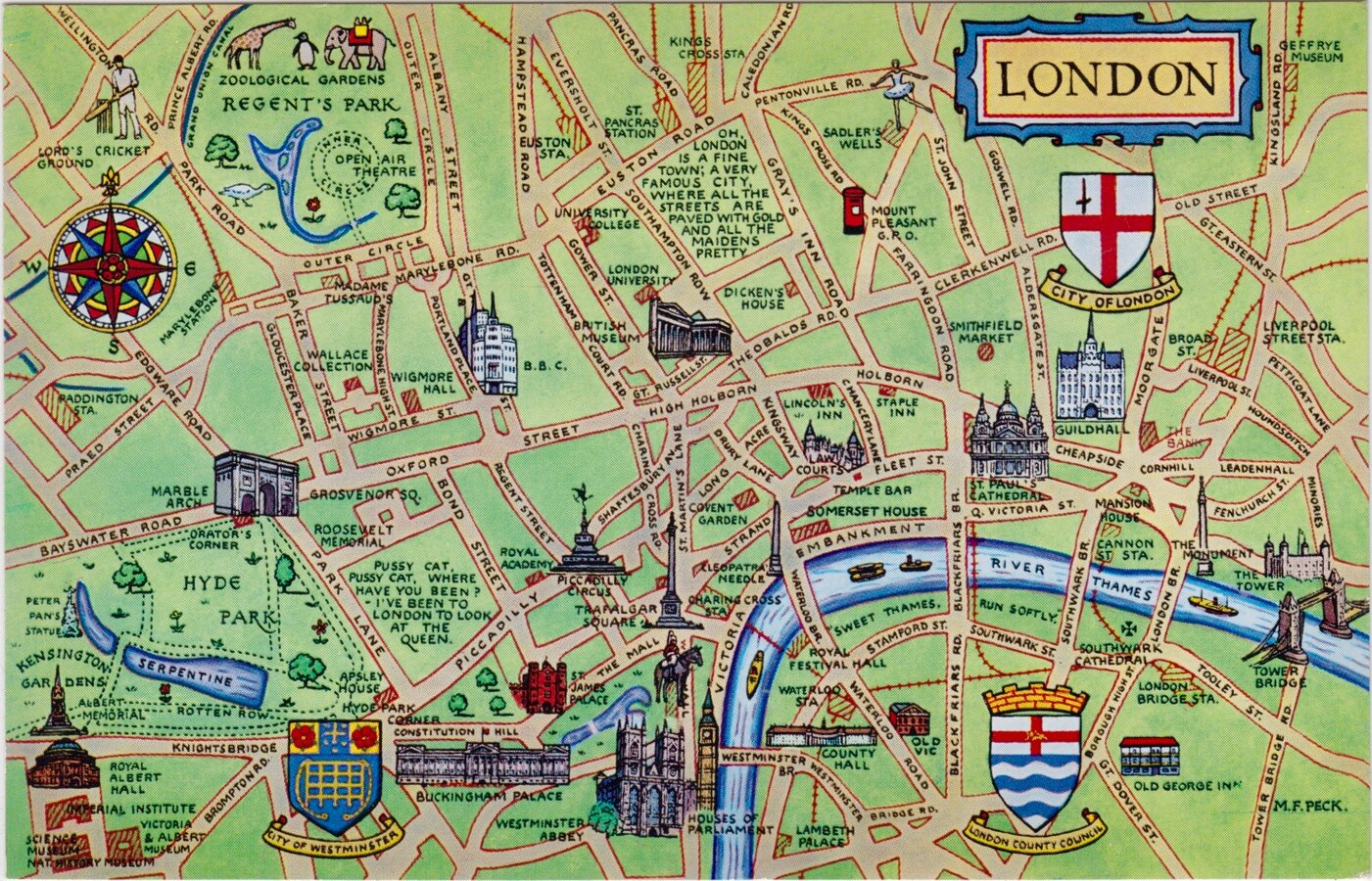 London Map Postcard