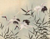 Cranes in flight. Hand Painted.