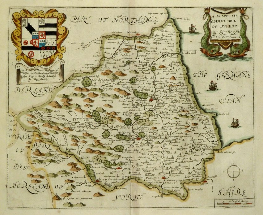 Durham Antique Maps, Old Maps of Durham, Vintage Maps of
