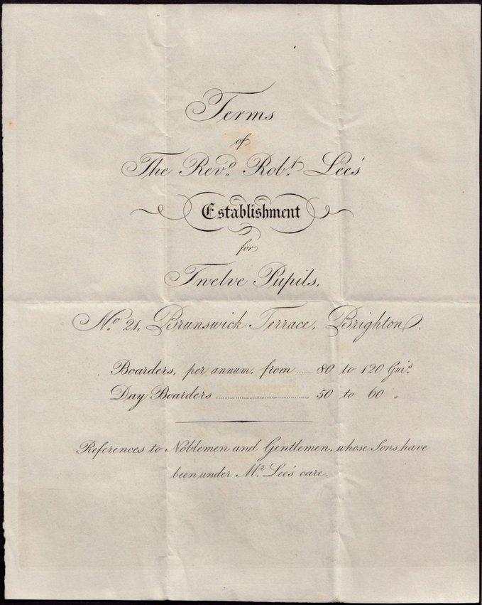 Advert. Rev. Robert Lee Brighton c.1840