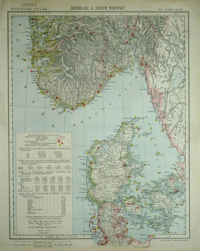 Denmark & South Norway by Letts.