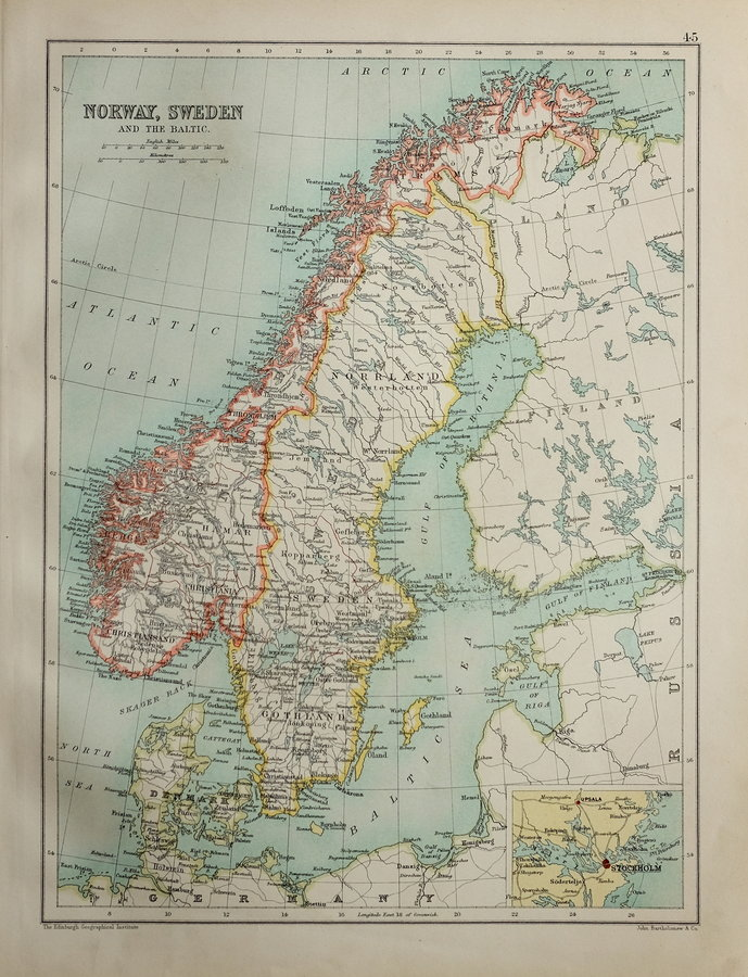 Norway & Sweden by Bartholomew