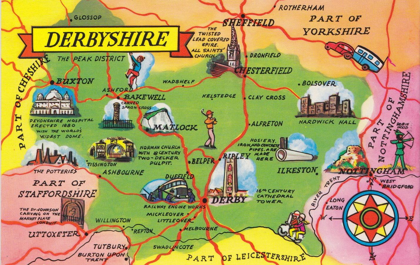 Derbyshire Map Postcard