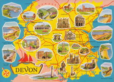 Devon Map Postcard
