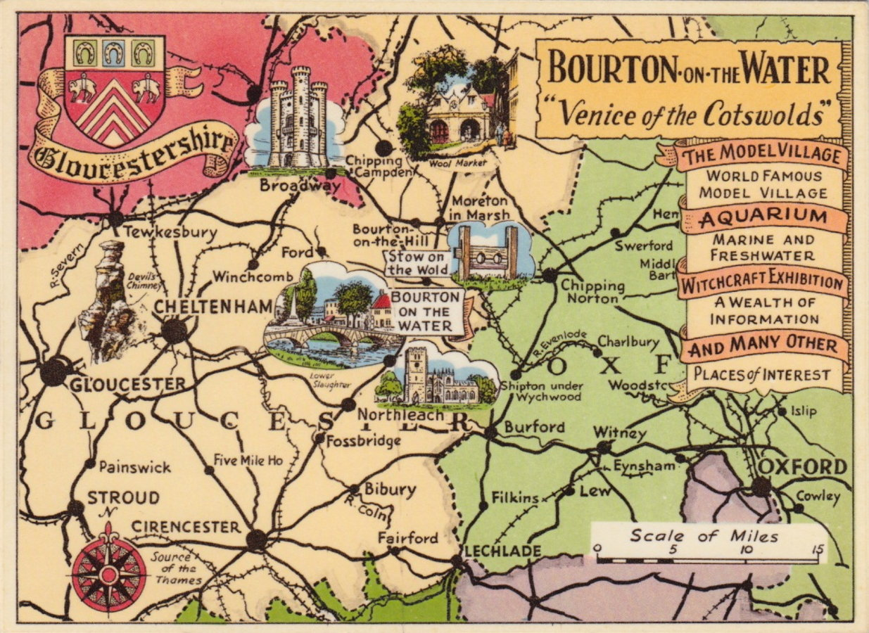 Bourton on the Water Map Postcard