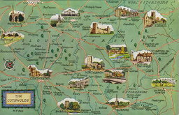 The Cotswolds Map Postcard