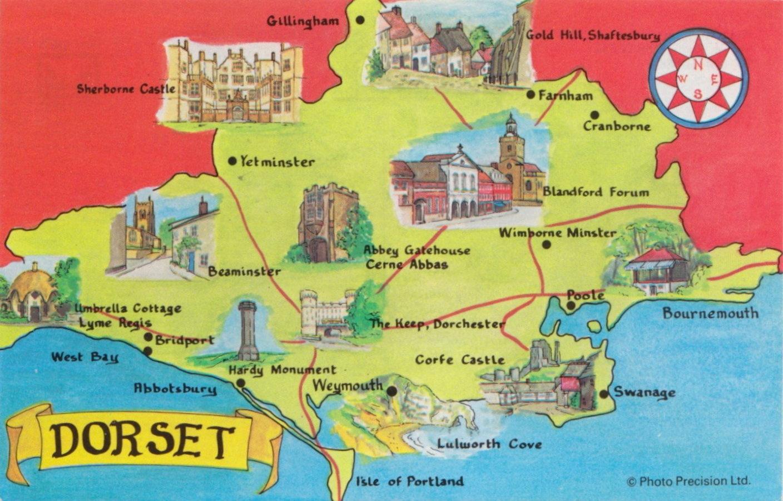 Dorset Map Postcard