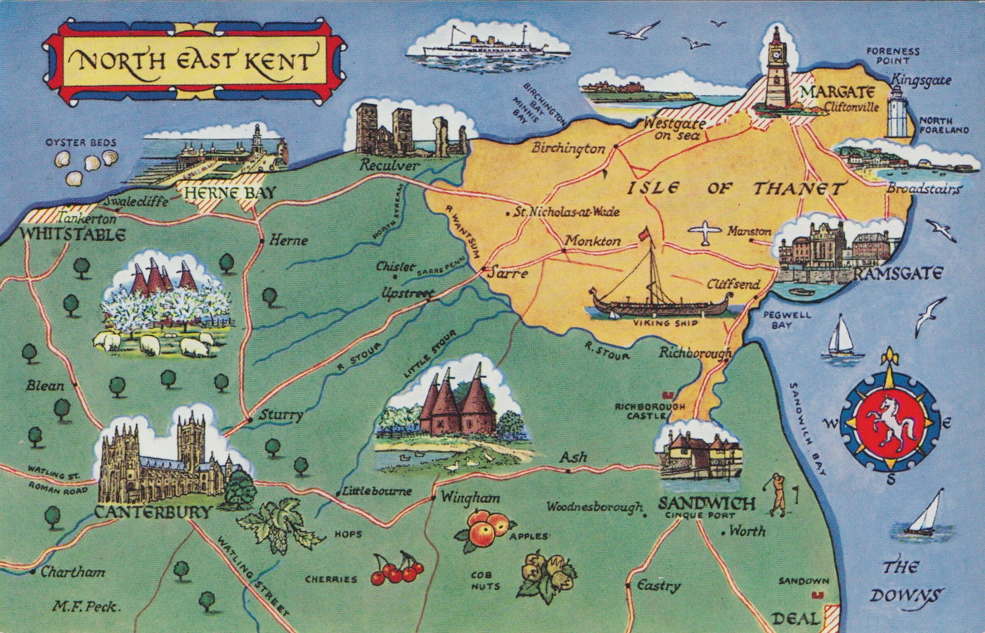 North East Kent Map Postcard