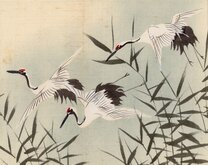 Cranes in flight. Hand Painted.