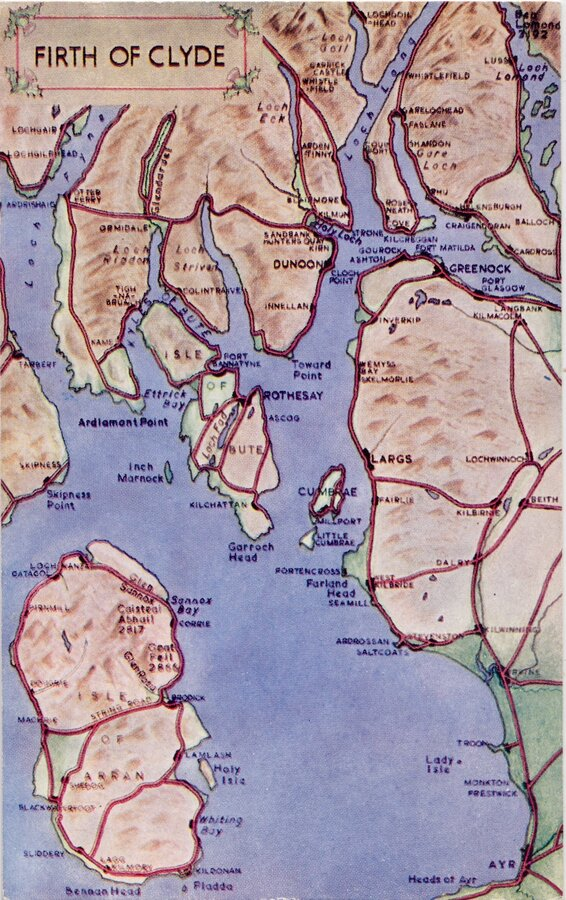 Firth of Clyde Map Postcard