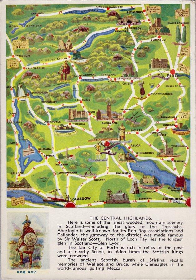 Central Highlands Map Postcard